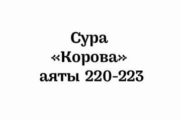 Сура «Корова»: аяты 220-223