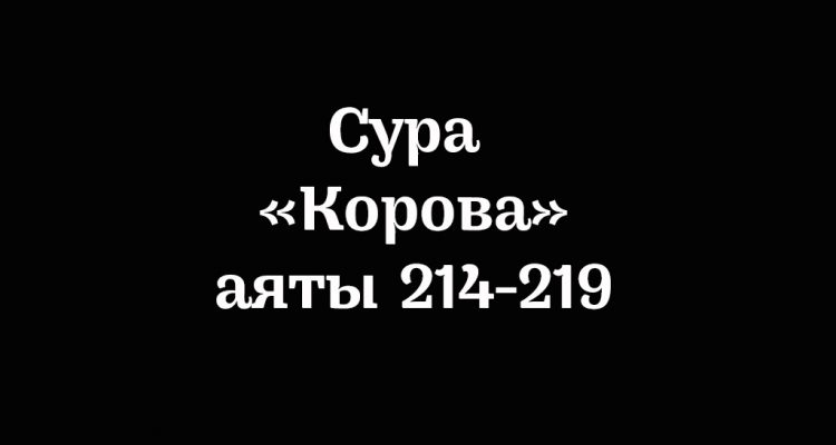 Сура «Корова»: аяты 214-219